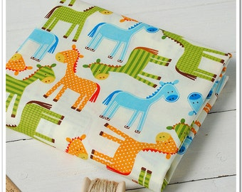 Children Decor Fabric Little Children Fabric Cotton Fabric  Quilting Fabric- 1/2 yard colorful pony