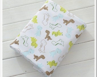 Wide Cotton Knit Fabric, Baby Fabric, Baby Cotton, Stretch Fabric, Dino- 1/2 yard
