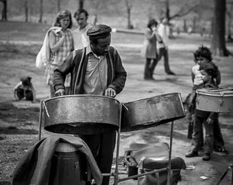 Vintage Black and White Photography Fine Art Print, Steel Drums In Central Park