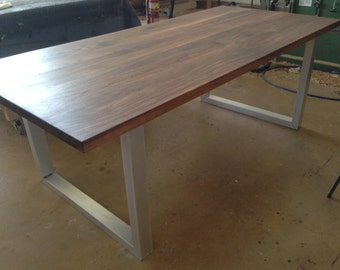 Contemporary solid black walnut table