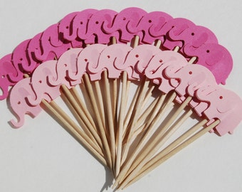 24 two toned Pink Elephants Party Picks Cupcake Toppers Toothpicks Food Picks