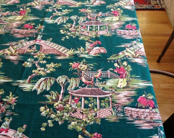 Vintage Asian Motif Barkcloth