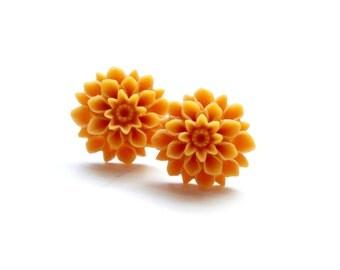 BOGO Sale - BUY 2 GET 1 Dahlia Studs - Yellow Earrings - 22mm Mustard Yellow Flower Studs - Hypoallergenic Resin Studs