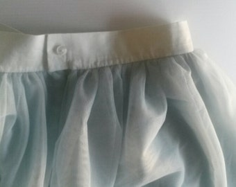 knee length skirt in floaty frothy layers of mint tulle. uk size 12/14.