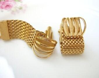 Vintage Manleigh Gold Minimalist Cage Cufflinks