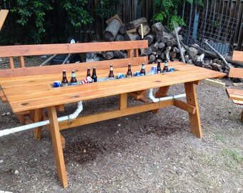 Nice Picnic Table With Ice Trough And Matching Benches