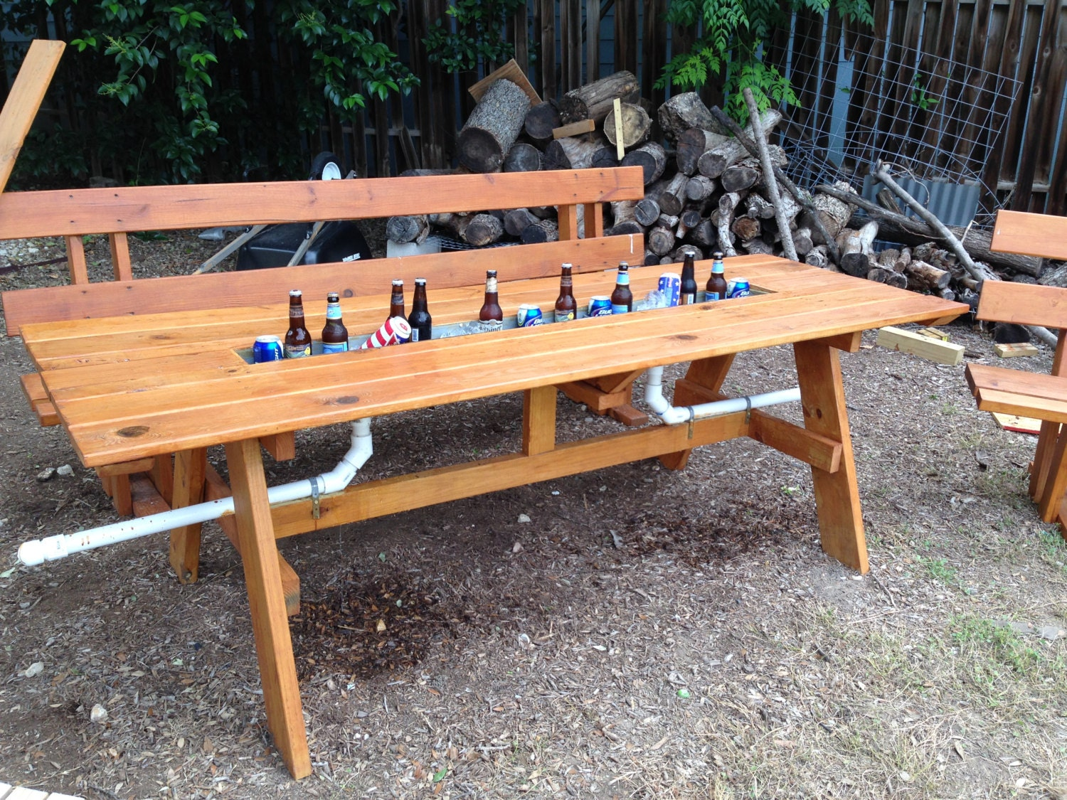 Picnic table with ice trough and matching benches for 10 person picnic table