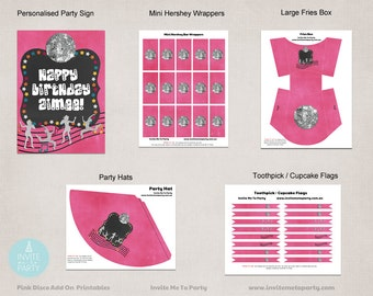 Pink Disco Party Decoration Printables Add On / Dance Party