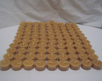 100% Beeswax Tealight Candles - 120 Tealights - Free Ship! - Clear Polycarbonate Cups