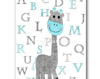 Giraffe Nursery Alphabet Nursery Download Art Printable Nursery Art Baby Boy Nursery Decor Baby Art Digital Art 8x10 11X14 INSTANT DOWNLOAD