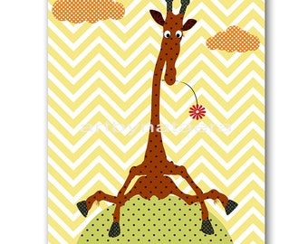 Giraffe Nursery Print Kids Art Digital file Children Art Kids Wall Art Baby Boy Nursery Art Baby Boy Room Decor 8x10 11X14 INSTANT DOWNLOAD