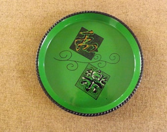 Vintage 1950's  Green Lacquered Tray in Like New Condition