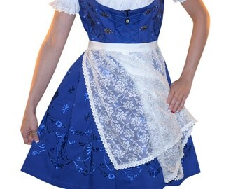 3-Piece Short Blue German Dirndl Dress 2 6 8 10 12 14 16 18 20 22 XS S M L XL