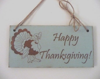 Thanksgiving Sign, Happy Thanksgiving Sign With Turkey, Shabby Chic Wooden Sign, Wall Hanging