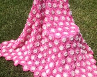 "Handmade dark pink/light pink/white Crocheted Daisy Afghan Throw Blanket 60"" x 52"""