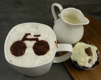 Bicycle  - coffee stencil, cake stencil, cupcake stencil