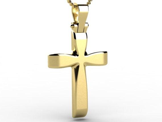 yellow gold 14k carat mens solid cross pendant