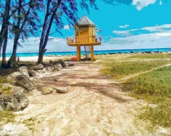 Large Size Beach View 1 Cross Stitch Chart