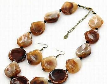 Chunky Brown Stoned Necklace Earring Set