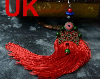 Red Tassel & Gold Plated Fan Shape Earring with Chinese Silk Gift Bag