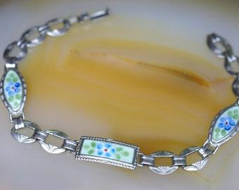 Sterling and Floral Enamel Bracelet
