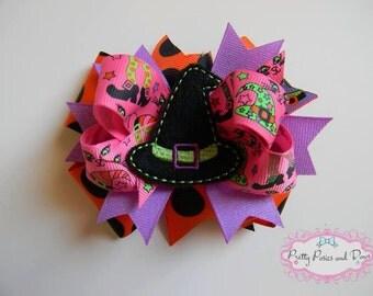 Halloween Witch Hair Bow, Glitter Halloween Bow, Pink and Purple Halloween Hair Bow, Witch Hair Bow