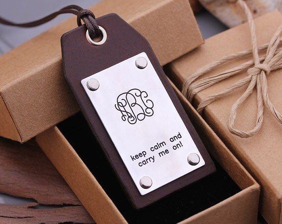 Personalized Luggage Tags Wedding Gift: Personalized Leather Luggage Tags Hand Made By Aimeehandmade