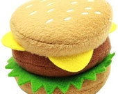 """Hamburger Plush Squeaky 4"""" Dog Toy"""