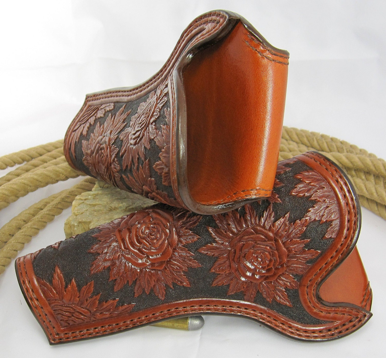 Custom handmade fully hand carved roses cowboy holsters
