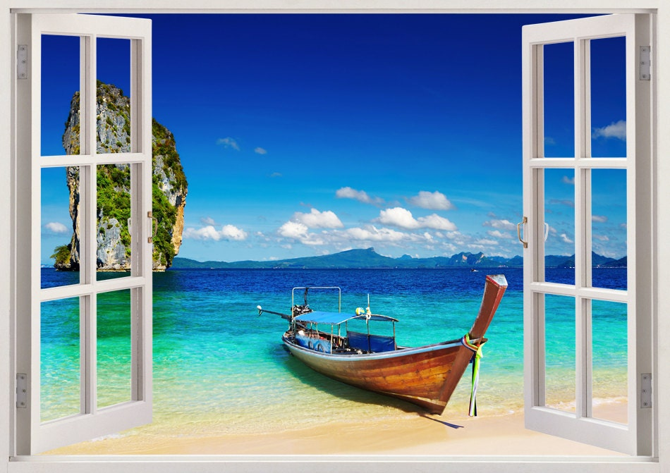 Beachy Wall Art tropical beach wall sticker 3d window boat wall decal for