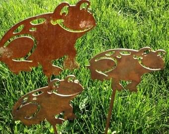 Metal Frog Yard Stake, Ribbit