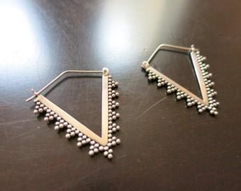 Handmade Sterling Silver Tribal Triangle Balinese Earrings