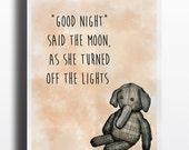 Elephant Nursery Print. color editable, quote