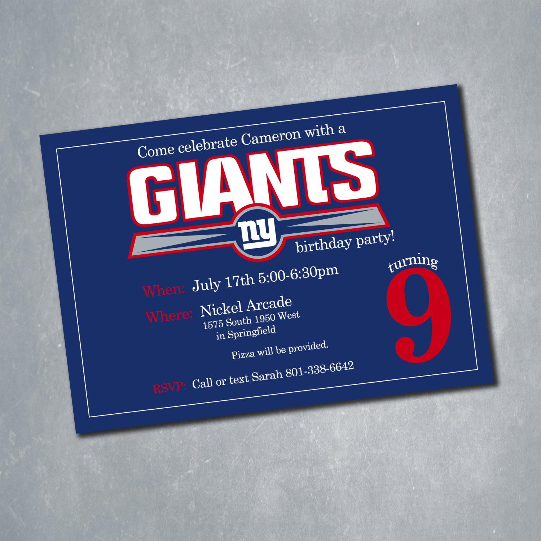 New York Giants Digital Birthday Invitation. NFL By