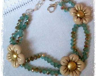 Polymer Clay multi-chain Bracelet with golden nuances - Limited edition