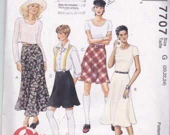 McCalls 7707 Vintage Pattern Womens Plus Size Bias Skirts In 3 Variations Size 20,22,24UNCUT