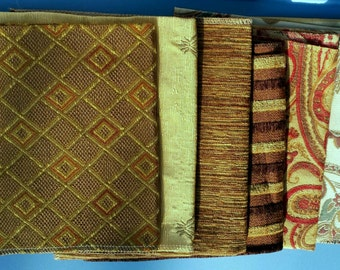 Set of Seven- 17in x 17in Upholstery fabric Squares- 10A