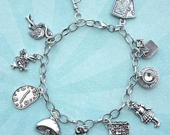 alice in wonderland charm bracelet- tibetan silver bracelet, themed charm bracelet