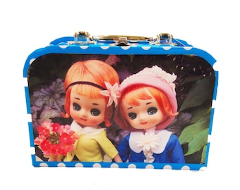 "Polka Dot novelty box purse featuring images of Vintage Japanese pose dolls: ""Flower Girls."""