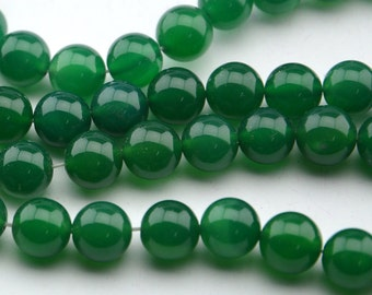 "15""10mm Natural Green Agate Beads  Round Gemstone Beads"