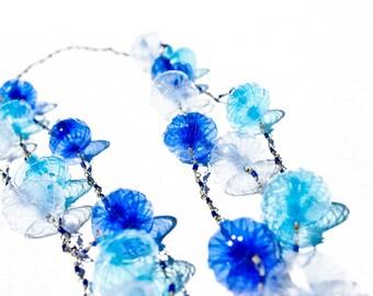 Sky Blue Upcycled Long Necklace // 3 strands