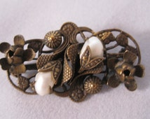 Edwardian Brooch Brass with Baby Dragons Tooth Faux Pearls