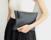 Black leather clutch, clutch for women, leather evening bag, leather clutch bag, iPad clutch leather, women clutch