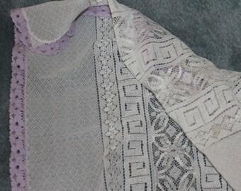 White Lace with Purple Trim Large Piece