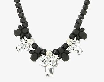 bib necklace, statement necklace, Crystal Flower Bib Necklace. statement necklace.