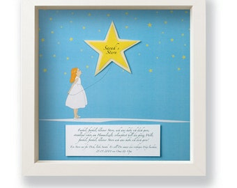 Personalized gift for birth or baptism, a star who illuminates!