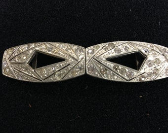 Narrow Vintage White Rhinestone Separating Double Buckle