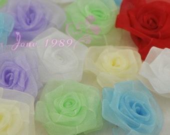 24pcs organza ribbon flowers rose wedding decorations craft appliques A070