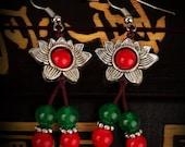 agate beads earring  sunflower unique nationality handmade Tibet earrings tibet jewelry