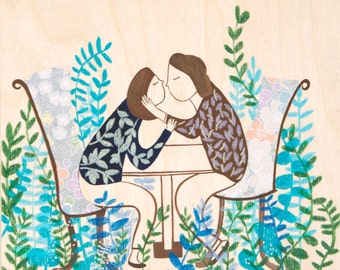 In love- Print of an original illustration, kiss, couple, flower